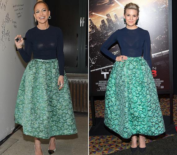 Jennifer Lopez máskor is volt már olyan ruhában, mint egy kolléganője: itt Maggie Grace színésznővel viselt egyforma ruhát, szerencsére két különböző eseményen és időben.