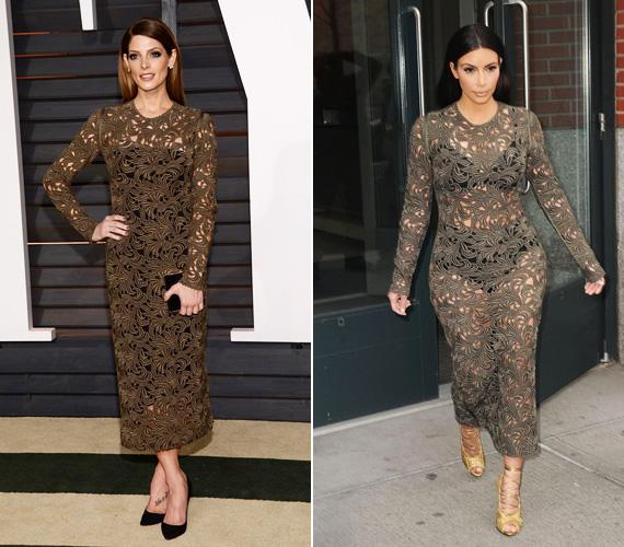 Ashley Greene színésznő vasárnap, az Oscar-afterpartira választotta ezt a Rachel Roy csipkeruhát, mely alá felhúzott egy fekete dresszt is. Kim Kardashian ellenben csak alsóneműt viselt tavaly márciusban egy ugyanilyen ruha alatt.