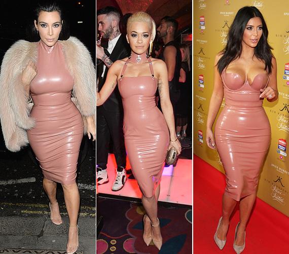 Rita Ora és Kim Kardashian ruhája mind anyagában, mind színében és fazonjában megegyezik, nem véletlenül volt kissé kínos az amúgy hiú sztárok hasonló öltözéke a partin. Kim Kardashian egyébként szereti ezt a fajta ruhát, tavaly novemberben is egy hasonlót viselt Melbourne-ben, a parfümje bemutatóján.