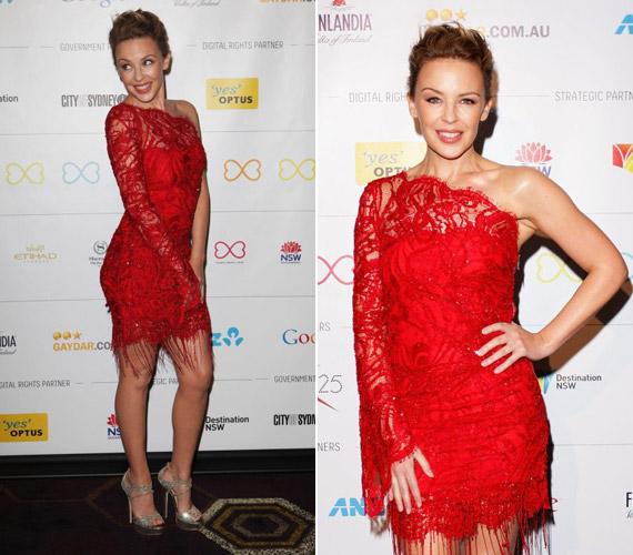 Kylie Minogue igazán dögös volt ebben a vörös ruhában.