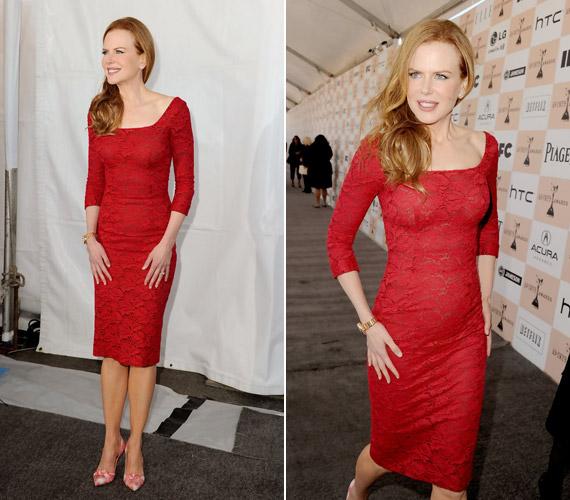 Nicole Kidman karcsú alakját kihangsúlyozó L'Wren Scott ruhában.