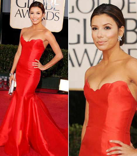 Eva Longoria                         Egy szenvedélyes dél-amerikai színésznőtől egyértelmű, hogy kedveli a piros színt - még akkor is, ha a rőt estélyik nem igazán mutatnak jól a vörös szőnyegen. Azért valószínűleg sokak szeme megakadt Eva Longorián, amikor pánt nélküli Reem Acra-ruhájában végiglejtett a közönség előtt a 2009-es Golden Globe-on.                         Kapcsolódó képgaléria:                         A 2012-es Golden Globe-gála legdögösebb sztárjai »