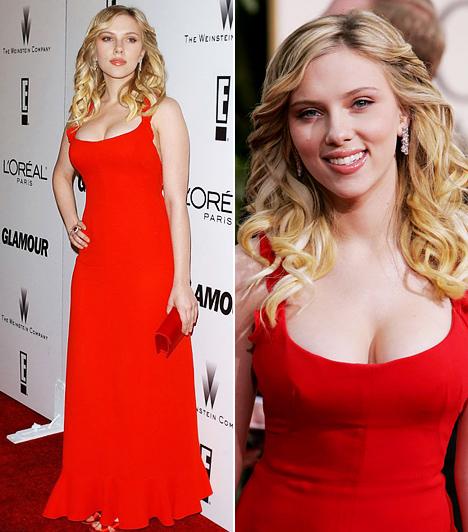 Scarlett Johansson                         A szőke szépség homokóra alakján minden nőies ruha jól áll, de azért a leggyakrabban ezek a vörös ruhás felvételek bukkannak elő róla az interneten. Kétségtelen, hogy Scarlett Johanssonon remekül mutatott a dekoltázsát hangsúlyozó, piros estélyi, melyet a 2006-os Golden Globe gálán viselt.                         Kapcsolódó cikk:                         Fürdőruhára vetkőzött egy magazin kedvéért Scarlett Johansson »