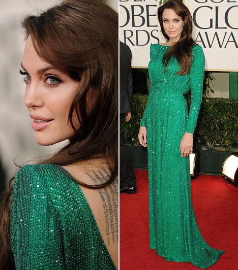 Angelina Jolie  A csont és bőrré fogyott, egykor dögös, érzéki bombázó Angelina Jolie utoljára talán a 2011-es Golden Globe-díjátadón jelent meg szépsége teljében. A macskaszemű színésznő - smaragdzöld Atelier Versace ruhájában - valóban úgy tündökölt a vörös szőnyegen, mint egy drágakő.  Kapcsolódó cikk: Fáj a szemnek! Angelina Jolie csontos alakja eltűnt a bő selyemestélyiben »