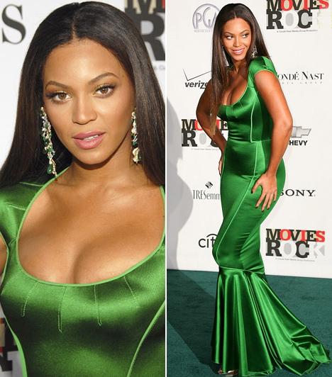 Beyoncé  A szexis énekesnő mindig is előnyben részesítette a testhez álló darabokat, hiszen ezek hangsúlyozzák leginkább nőies domborulatait. A Movies Rock: A Celebration Of Music In Film elnevezésű rendezvényen is egy sellőszabású, smaragzöld Zac Posen-kreációban vonult fel, nem csoda, hogy nagy feltűnést keltett a hollywoodi Kodak Theatre vörös - vagyis zöld - szőnyegén.