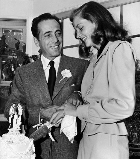 Lauren Bacall és Humphrey Bogart  Lauren Bacall 20 évesen 1945-ben ment feleségül Humphrey Bogarthoz. A házasságuk Bogart 1957-ben bekövetkezett haláláig tartott. Habár sosem értékelte túl nagyra a házasság intézményét, másodszor is megházasodott, 1961-ben Jason Robards felesége lett.