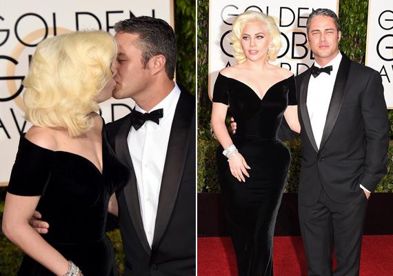 Valószínűleg Taylor Kinney-nek is jobban tetszik a menyasszonya extrém jelmezek nélkül. Elegáns ruhájában Lady Gaga igazi bombázó volt, nem csoda, hogy a párja folyton csókolgatta.