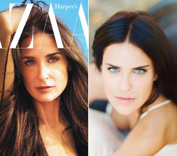 Demi Moore a Harper's Bazaar 2012-es februári számának címlapján, illetve a 19 éves Tallulah.