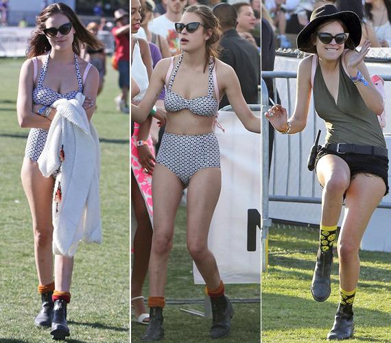 Persze vagányságért sem kell a szomszédba mennie: a Coachella Zenei Fesztiválon a nagy hőségben nem sok ruhát viselt.
