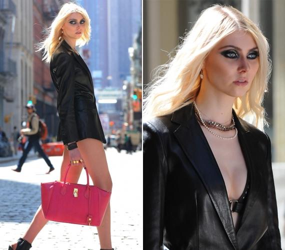 Taylor Momsen bugyiban és egy bőr zakóban sétálgatott New York utcáin, éppen új klipje forgatására tartott, mikor lefotózták.