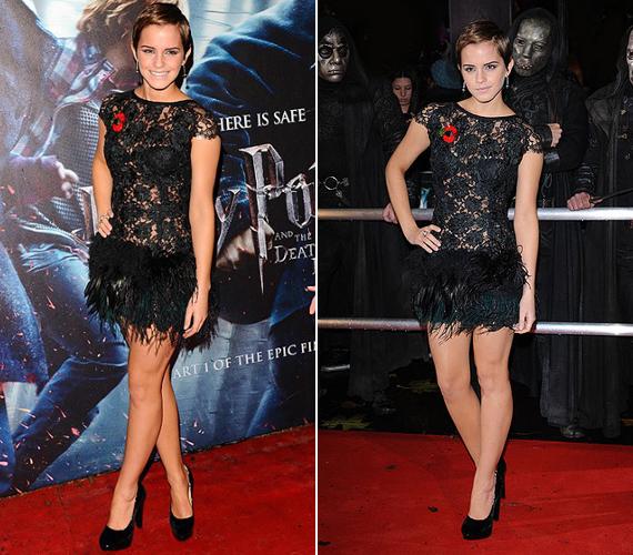 Emma Watson még a Harry Potter londoni bemutatójára vette fel ezt a Rafael Lopez által tervezett miniruhát.