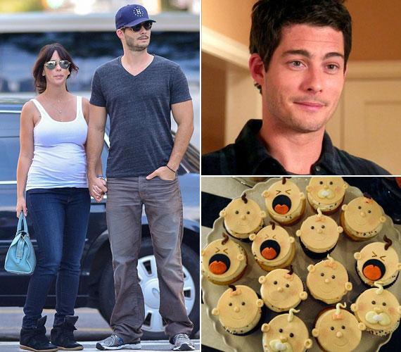 A 34 éves sztár és a színész Brian Hallisay az Ügyféllista című sorozat forgatásán jöttek össze. A színésznő már babaváró bulit is tartott, a jobb oldali vicces tortával.