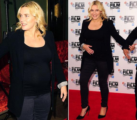 Kate Winslet Nyárutó című új filmjének vasárnapi, londoni bemutatóján nem takargatta babapocakját. Ez a harmadik terhessége.