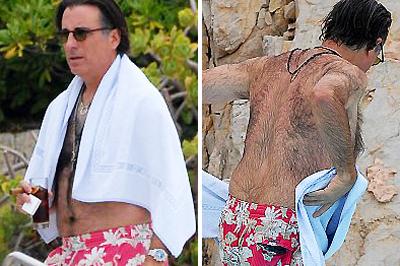 Andy Garcia színész szőrös háta