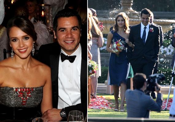 Jessica Alba, a Fantasztikus Négyes sztárja Beverly Hills-i esküvőjén egy egyszerű kék ruhát viselt. A színésznő és férje, Cash Warren producer két kislány - Honor Marie és Haven Garner - szülei.