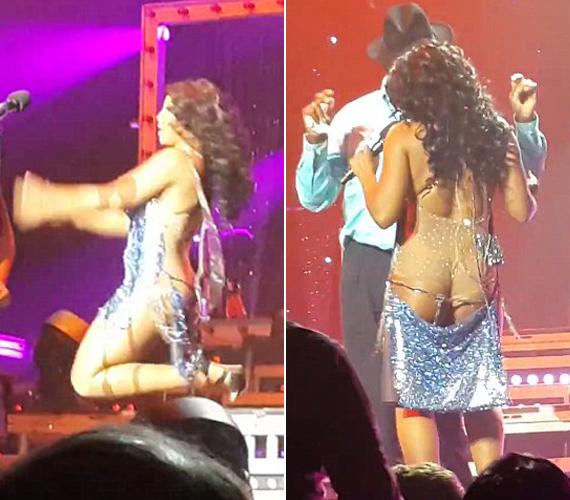 A 45 éves énekesnő nem vette észre, hogy tánc közben levált a ruhája alsó része.
