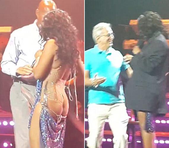 Az énekesnő egyáltalán nem jött zavarba, amikor közölték vele, a műsort egy zakóban folytatta.