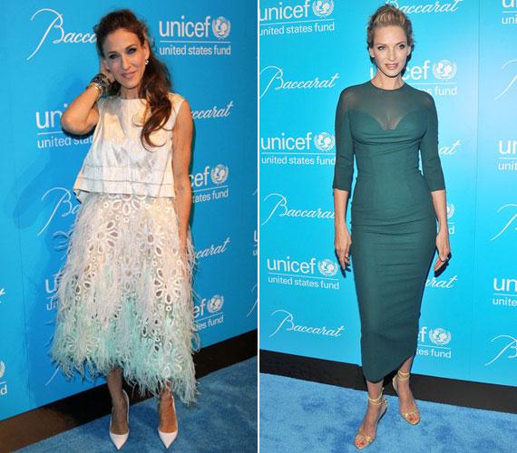 A gálán Sarah Jessica Parker is megjelent, ő egy Louis Vuitton-költeményt viselt.