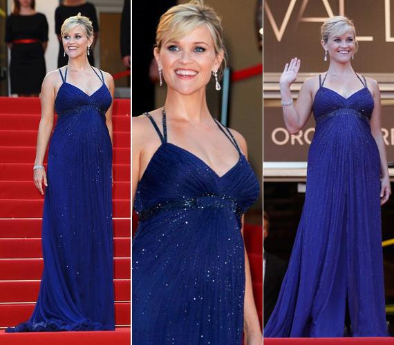 Reese Witherspoon ebben a gyönyörű, királykék estélyiben lépett a vörös szőnyegre a 65. cannes-i filmfesztiválon.