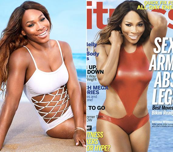 A fürdőruhás képektől eltérően a magazinok címlapján már Serena Williams is vékony.