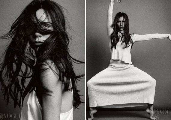 A kínai Vogue számára készültek a dzsungelhatású fotók, amelyek olyannyira letisztultak, mint Victoria Beckham stílusa.