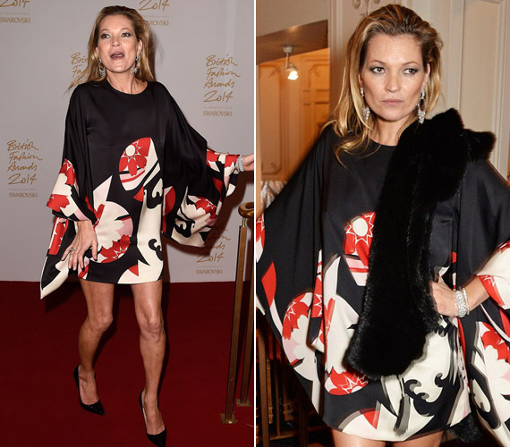 Kate Moss késve érkezett, de miniruhájában hatásos belépője volt.