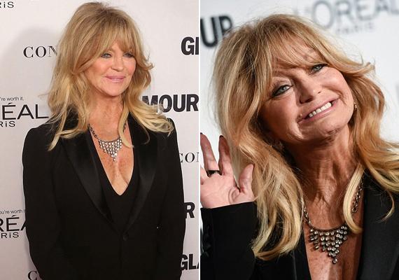 A 69 éves Goldie Hawn nagyon stílusos volt egyszerű, fekete nadrágkosztümjében.