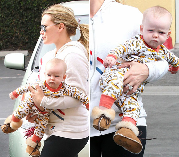 A napokban Hilary Duffot is lekapták a fotósok babájával a karjában: a kis Luca kissé morcosan nézett a kamerába.