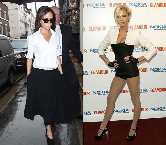 Fekete-fehér: ég és föld a különbség a két szett között. Előbbi egy esős, szeptember végi napon készült idén, Londonban, Victoria klasszikus fehér inget és fekete aljat visel, megjelenése egyszerre nőies és üzletasszonyos. Nem úgy a jobb oldali ruházat, melyben 2007-ben jelent meg a Glamour Awardon, a Roberto Cavalli sorttal kombinált overall minden volt, csak nem szolid.