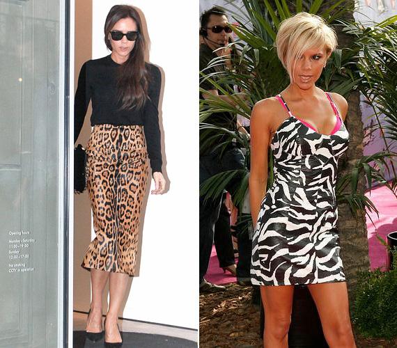 Állatminta: londoni üzletéből távozóban kapták le Victoria Beckhamet állatmintás hosszú szoknyában és fekete felsőben - ez a kombináció vadságot sugall, mégsem túlzó. A zebramintás ruhácska ellenben elég közönséges, de úgy tűnik, hét évvel ezelőtt megfelelt az ízlésének.
