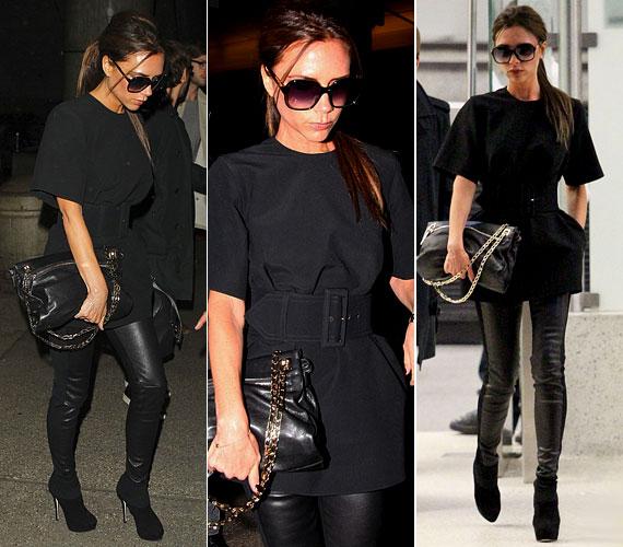 Vékony alakját gyakran kihangsúlyozza szűk ruhákkal: ez a feszes fekete bőrnadrág is remekül állt neki.