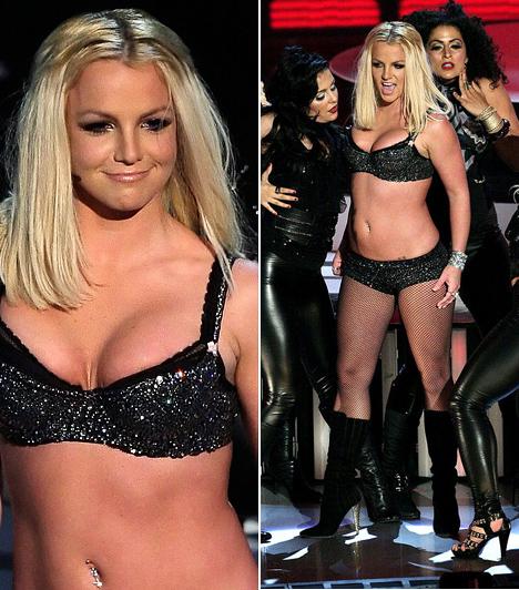 Britney Spears  A szebb napokat is látott Britney Spears fénykorában az MTV díjátadóiról és a Grammy-gálákról is díjesővel tért haza. A szakma és a közönség szeretetét a dögös popénekesnő látványos előadással és sokat mutató fellépruhákkal hálálta meg. A 2007-es Las Vegas-i VMA-gálán például szexis, fekete alsóneműben lépett színpadra.