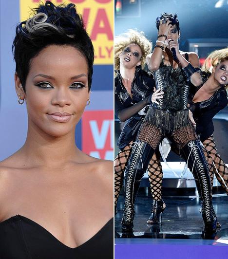 Rihanna  Ha azt hiszed, hogy a barbadosi szépség csak mostanában kapott rá a különösen extravagáns és felettébb merész szettekre, íme, a bizonyíték, hogy az r'n'b rosszkislánya már három évvel ezelőtt is épp eléggé provokatív volt. A 2008-as VMA közönségének tátva maradt a szája a frissen stílust váltott énekesnő megjelenésétől.  Kapcsolódó képgaléria: A 2012-es Grammy-gála legdögösebb sztárjai »