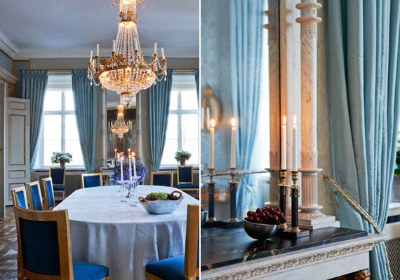 Az étkező falát türkiz selyemtapéta, a XIV. Lajos korából származó székeket királykék bársonykárpit borítja. Természetesen itt sem maradhatott el a kristálycsillár. Nem véletlen, hogy a helyiséget csak jeles vendégek fogadására használják.