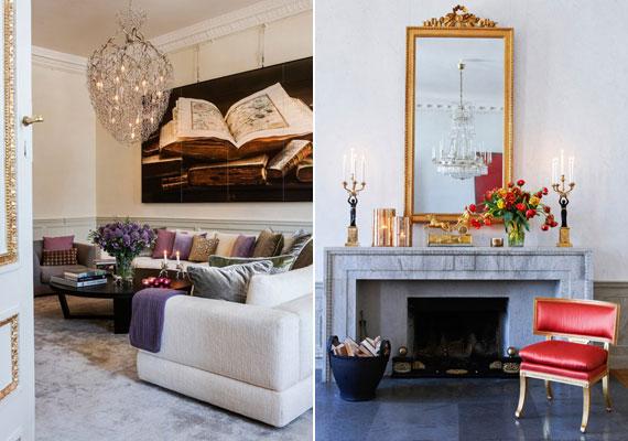 A nappaliban kellemes pasztellszínek uralkodnak: szürke szőnyeg, krémszínű kanapé, lilás párnák. A mennyezeti lámpa modern drótszobornak is beillik. A szalonban hideg idő esetén szintén egy a harmincas évekből származó márványkandallóba fűthetnek be.