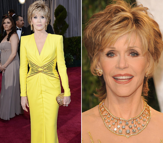 Jane Fonda 75 évesen az előkelő ötödik helyet érte el a listán. Amikor megkérdezték, mi alakja és szépsége titka, csak ennyit mondott: - A gének és rengeteg pénz.