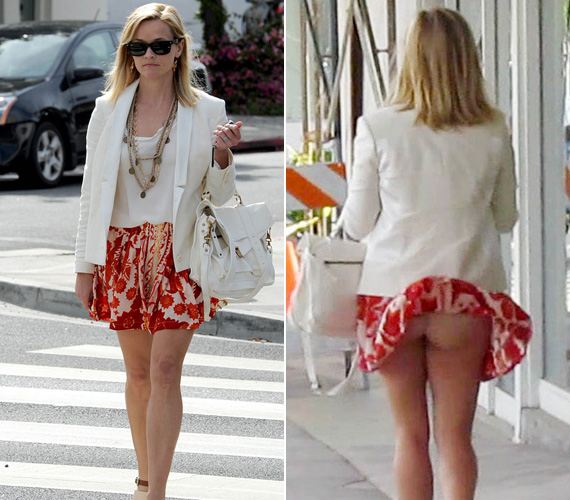 Reese Witherspoonról viszont az derült ki, hogy nem mindig visel bugyit, legalábbis ez alatt a szoknya alatt nem volt.