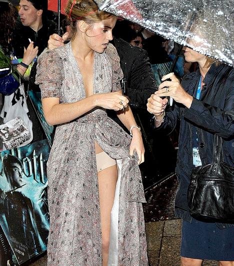 Emma Watson  A bájos angol színésznő, akit a Harry Potter-mozik Hermionéjaként ismertünk meg, igyekszik lépten-nyomon bizonygatni, hogy már kinőtt a tinikorból. Máskülönben nem pont egy olyan ruhát választott volna a Harry Potter és a Félvér Herceg bemutatójára, melyet igazából alig tartott össze valami.