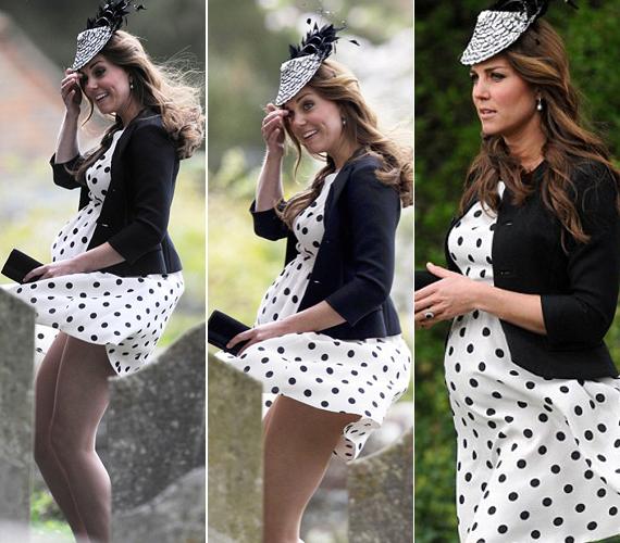 Május közepén nem Katalin hercegné babapocakjára figyeltek, amikor megjelent férjével egy barátjuk esküvőjén. Pöttyös ruhájában többet mutatott, mint akart, a szél belekapott a szoknyájába, és majdnem kínos villantás lett belőle.