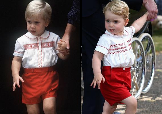 Vilmos herceg ebben a ruhában látogatta meg újszülött testvérét, Harryt, György herceg pedig kishúga keresztelőjén viselt egy majdnem ugyanolyan piros szettet. Megdöbbentő a hasonlóság közöttük, még a mozgásuk is egyforma.