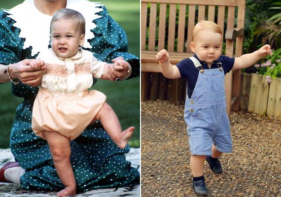 Diana hercegnő segítségével, széttárt karokkal totyog a kis Vilmos. Le sem tagadhatná kisfiát, aki ugyanígy siet édesanyjához.