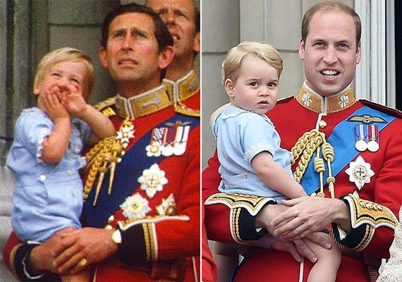 Első szereplésén a Buckingham-palota erkélyén ugyanazt a kis kék ruhát viselte György herceg, mint amit apja 1984-ben.