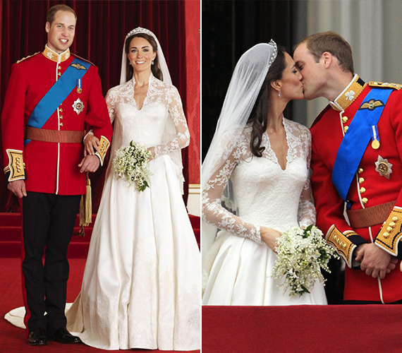 2011. április 29-én keltek egybe, ezt a napot abban az évben ünnepnappá nyilvánították Angliában. Katalin gyémántokkal díszített tiaráját a királynőtől kapta. Ezt az ékszert viselte az esküvőjén a királynő és az ő édesanyja is.