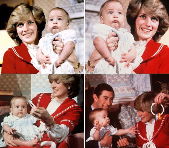 Eleinte megilletődött a fényképezőgépek láttán, aztán már inkább a játékok érdekelték, melyekkel Diana hercegnő elterelte a figyelmét.