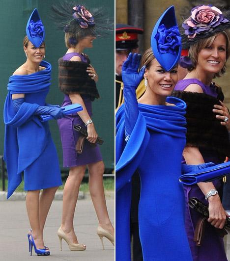 Santa Montefiore és Tara Palmer-Tomkinson  A nővérek igazán feltűnő szettben érkeztek: Tara talpig kékben pompázott, míg húga a lila és barna kombinációit viselte.