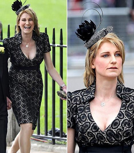 Sally Bercow                         John Bercow politikus felesége bár sötét színeket viselt, láthatóan vidám hangulatban volt. Szettjét aprócska fejfedővel dobta fel.