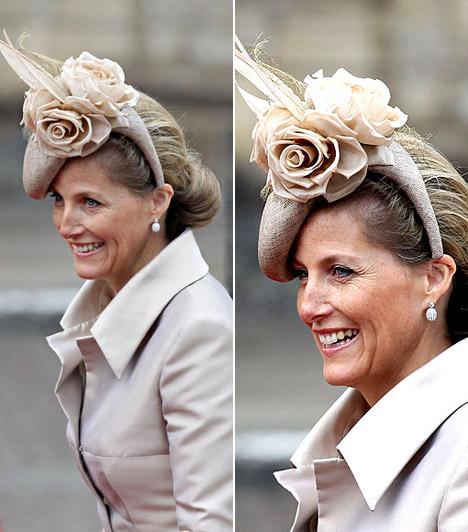 Sophie grófnő                         Wessex grófnője elegáns, klasszikus szabású kosztümöt viselt, melyhez kiválóan passzolt a rózsákkal díszített féloldalas kalap.