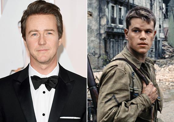 Edward Norton visszautasította James Francis Ryan közlegény szerepét, amelyet végül Matt Damonra bíztak. Kár érte, biztosan jól állt volna rajta az egyenruha. Az 1999-ben készült Ryan közlegény megmentése című film öt Oscar-díjat nyert.