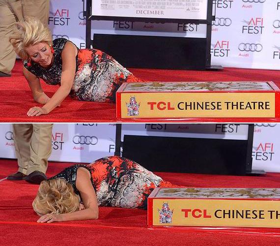 Emma Thompson kéz- és láblenyomatát foglalták betonba a híres Hollywood Chinese Theater előtt, ám a színésznő elveszítette az egyensúlyát, és elvágódott.