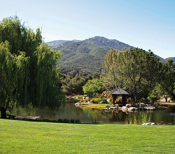 A birtok rendezett, zöld oázisként öleli körül a házat: a Smith családnak saját tava és biofarmja is van a kaliforniai rezidencián.